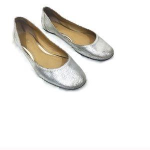 BP Nordstrom Silver Crackled Ballerina Flat Shoes